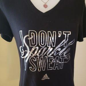 EUC, Adidas Black V neck Graphic Shirt, Sz Small
